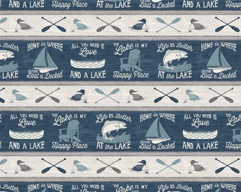 Boat Fabric - Sailboat Canoe Fish - A Day at the Lake - Laura Marshall - Wilmington - Stripe 59102 449 Blue Gray - Priced by the half yard