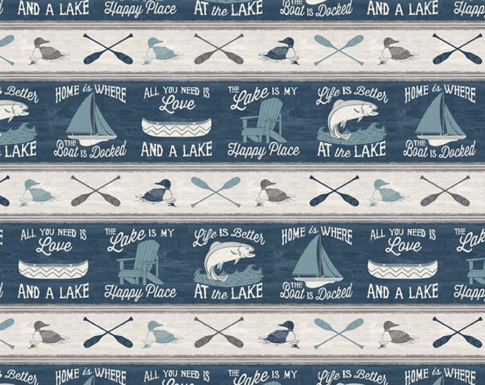 Featured listing image: Boat Fabric - Sailboat Canoe Fish - A Day at the Lake - Laura Marshall - Wilmington - Stripe 59102 449 Blue Gray - Priced by the half yard
