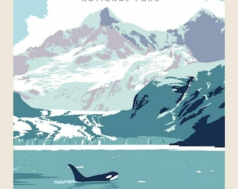 Glacier Bay National Parks Fabric Poster - Anderson Design Group for Riley Blake P9483 - 36-Inch Panel