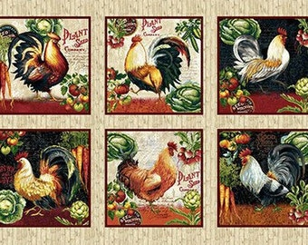 Farmers Market - Rooster Block - Chicken Fabric - by Geoff Allen for Studio e - 4451 44 Cream - Priced by the 24-Inch Panel