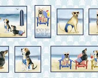 Dog Fabric - Panel Dog Beach Fabric - Summertime Dogs - Hot Dog by P&B Textiles World Art Group 3069 - Priced by the Panel