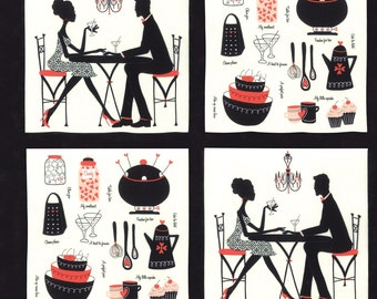 Valentine Couples Fabric - Table for Two Panel by Sandy Gervais for Moda Fabrics 17750 14 Tuxedo - 23 inch Panel