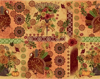 Turkey Place Mat Fabric - Fall Fabric - Fall Festival by jennifer Brinley - Studio E - 4260 44 Priced by the 24-Inch Panel