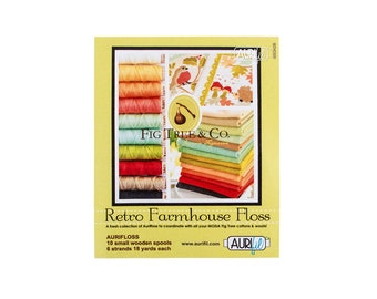 Aurifil Aurifloss Thread - Retro Farmhouse Floss by Joanna Figueroa -  Mako Cotton - 10-pack, wooden spool - 6-strand floss, 18yd