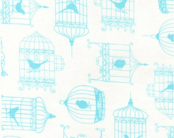 Bird Cage Fabric - Tweet White Bird Cages by Timeless Treasures C9243 - Blue - Priced by the 1/2 yard