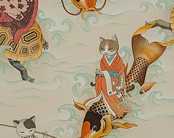 Koi Fabric - Cat Fabric - Feline Fisherman Alexander Henry Fabric - 8643 A Parchment color - Priced by the Yard