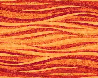 Shimmer Fabric - Wavy Stripe - Blender Fabric - Artisan Spirit Shimmer Northcott  20425M 24 Copper Orange - Priced by the 1/2 yard