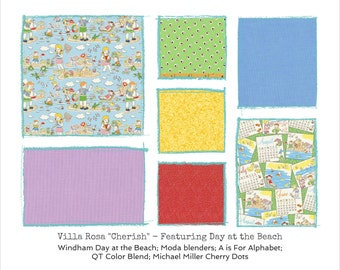 "Day at the Beach Quilt Kit - Beach Kids - Villa Rosa Cherish Pattern - finishes 41""x60"" - DIY"