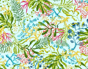 Seaweed - Blooming Ocean - Pam Vale for Studio E - 5404 11 Lt Blue - Priced by the Half Yard