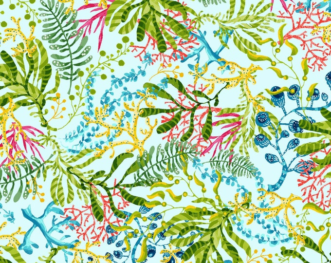Featured listing image: Seaweed - Blooming Ocean - Pam Vale for Studio E - 5404 11 Lt Blue - Priced by the Half Yard