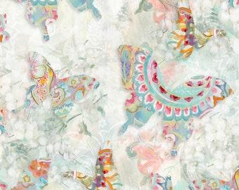 Wild Blush Fabric - Paisley Butterfly - Danhui Nai - Wilmington Fabrics - 89219 134 - Priced by the half yard