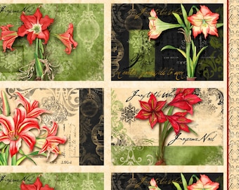 Christmas Fabric -  Christmas in Bloom Placemats by Nancy Mink for Wilmington Prints 33794 179 Multi - Priced by the Panel