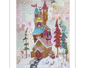 """Gingerbread House - Laura Heine Pattern - Applique Quilt - Storybook House Collage 32""""x44"""" - DIY Pattern Or Kit Option - full size template"""