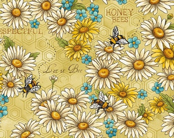 Bee Kind - Let It Bee - Bees & Daisy - Paintbrush Studio - 120 99201 - Priced by the 1/2 yard