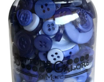 Button Mason Jar - Button Assortment - Buttons Galore - Periwinkle Garden (purple blue) MJ114 - 200 buttons with Jar