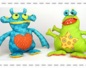 Mod Monsters - Stuffables - Sew & Go - Quilting Treasures 26389 - Sold by the Panel - DIY stuffed animals, stuffed monster