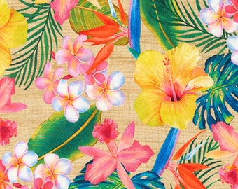 Natural Hibiscus Floral -  Island Sanctuary Collection Hawaiian Floral - Laura Washburn for Kaufman 1717714 - Priced by the Half yard