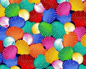 Sea Shell Fabric - Sea World by Lorella Avinci for Studio e Fabrics -  5052 75 multi - Priced by the Half Yard