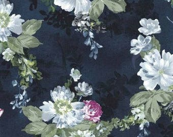 Floral Fabric - Serafina by Michael Miller, CX 7270 Midnight - Priced by the half yard