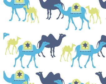 Monaluna Certified Organic Knit Fabric - Marrakech Camel Caravan Knit - Blue Green White - Priced by the Half yard