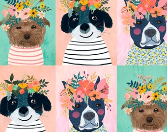 Dog Fabric -  Puppy Panel - Floral Pet by Mia Charro - Blend Fabrics 129 101 01 1 - Priced by the 1/2 yard