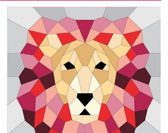 "Lion English Paper Piecing Pattern by Violet Craft - finishes 20""x20"" block - Templates & Instructions ONLY"