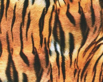 Animal Fabric - Tiger Skin Print - Animal Kingdom Collection - Kaufman  19875286 -  Price by the  1/2 yard