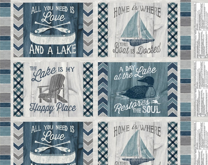 """Featured listing image: Boat Fabric - Sailboat Canoe Fish - A Day at the Lake - Laura Marshall - Wilmington -59101 949 Blue Gray - Panel 24""""x44"""""""