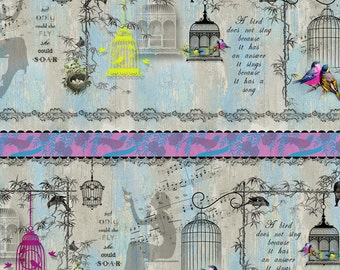 Bird & Bird Cages Fabric - Song Birds Stripe Shelf by Kathleen Francour for SPX Fabrics - 25303 Blue - Priced by the half yard