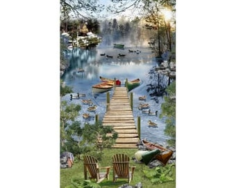 Lake Panel - Lake Dock - Gone Fishing by Timeless Treasures C6402 - 24-Inch Panel