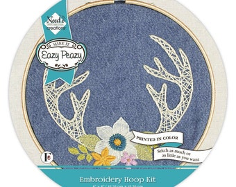 Embroidery Kit - Eazy Peazy Antler Hoop Kit - 6-inch hoop - all Inclusive - DIY project - nc-ep-PD-4