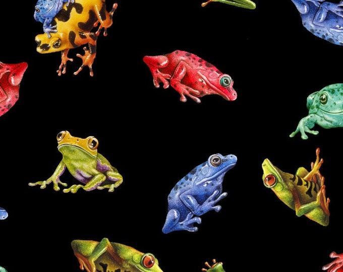 Featured listing image: Frogs - Jewels of the Jungle - Small Tossed Frogs - Lori Anzalone for StudioE Fabrics 5562 99 Black -  Priced by the 1/2 yard