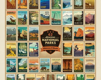 """National Parks (62) Fabric Oversize Panel of Posters - Wilderness Wonders by Anderson Design Group for Riley Blake P9770 - 54""""x72"""" Panel"""