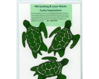 Turtle Cork - Laser cut Natural Cork Fabric - PMQ Corky Impressions - Fusible backing - 3 items per package