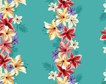 Jungle Lei - Hawaiian Floral - Hibiscus & Hummingbird collection Michael Miller DC 7911 Blue - Priced by the Half yard
