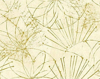 Shimmer Koi Pond Northcott - Water Lily Outline by Karen Sikie - 22351M 11 Gold Tonal -  Priced by the Half Yard