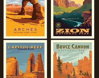 Utah National Parks Fabric Poster - Anderson Design Group for Riley Blake PP 8794 - 4-Patch 36-Inch Panel