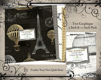 Paris Fabric, Tres Graphique,  Eiffel Tower, Hot Air Balloons, Bicycle - Wilmington - 495 503 / 513 Choose 5-Inch or 10-Inch set