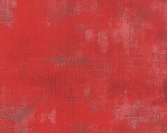 Red Textured Fabric - Cherry Grunge by BasicGrey for Moda Fabrics 30150 265 Medium Red - Priced by the 1/2 yard