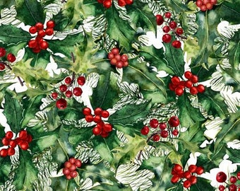 Holly Berry - Poinsettia Winter - Christmas Fabric - In The Beginning - 5APW 1 - Priced by the 1/2 yard