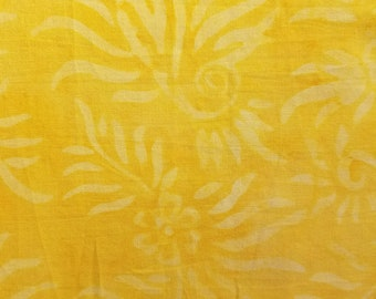 Marbled Batik Fabric - Artisan Indonesian from Majestic Batiks - D15 SP - Bright Yellow, Priced by the 1/2 yard