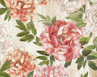 Peony Print Fabric - Peony Dance by Chong-a Hwang for Timeless Treasures -  CD 7227 multi - Priced by the Half Yard