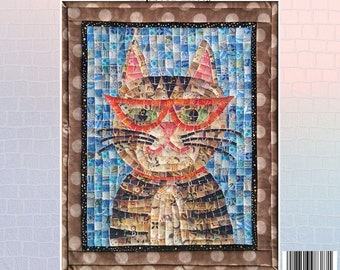 Hipster Cat Mosaic - Hipster Kitty - Mini Mosaic Quilts From Oy Vey Quilt Designs By Cheryl Lynch - MM387 - DIY Pattern