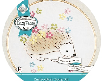 Embroidery Kit - Eazy Peazy Hedgehog - 6-inch hoop - all Inclusive - DIY project