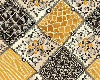 Maya - Floral Patchwork by Studio 8 for Quilting Treasures 24016 S - Black Topaz (yellow) - Priced by the 1/2 yard