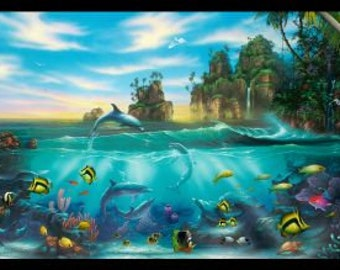 Tropical Fish Fabric - Island Paradise - Fish on the Reef - Paradise Found - Elizabeth Studios 6106- Priced by the 24-Inch panel