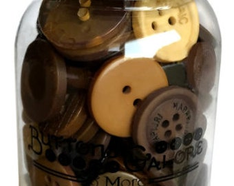 Button Mason Jar - Button Assortment - Buttons Galore - Warm Cocoa (Brown) MJ113 - 200 buttons with Jar