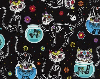 Cat Fabric -  Day of the Dead Kitty Fabric Day of the Dead Pet - Timeless Treasures c4159 black - End of Bolt 22.5 Inch (5/8 yard)