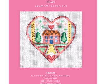 Mini Cross Stitch Kit - House Heart - TUVA Publishing MCS02 - Sold by the Each