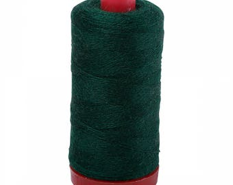 Aurifil 12wt Wool Thread - Wool Lana Acrylic/Wool Embroidery & Quilting Thread 12 wt - 50% wool - Forest Green 8891